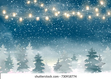 Winter Christmas Woodland Landscape with Falling snow, snowflakes, coniferous forest, light garlands. Holiday winter landscape for Merry Christmas. Winter background. Christmas scene. Vector