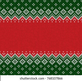 Winter Christmas x-mas knitted seamless abstract background frame and border. Knitted pattern with nordic ornaments snowflakes. Winter knitting. Scandinavian style design for backgrounds, wallpaper