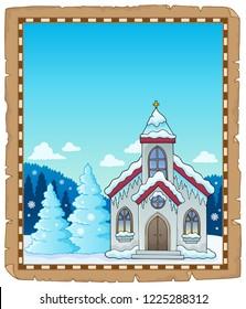 Winter church theme parchment 1 - eps10 vector illustration.