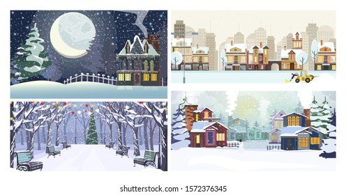 Winter city flat vector illustration set. Winter city landscape with snow, cozy houses, moon, park, Christmas tree. Tourism and nature concept