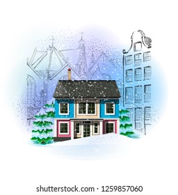 Winter city landscape. Christmas and New Year illustration. Vintage style.