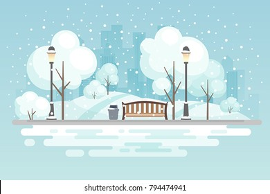 Winter city park.Vector illustration.