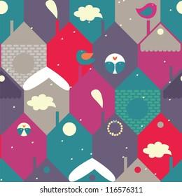 winter city seamless pattern