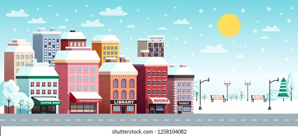 Winter city street flat horizontal banner with coffee shop library bookstore buildings snowy landscape sun vector illustration