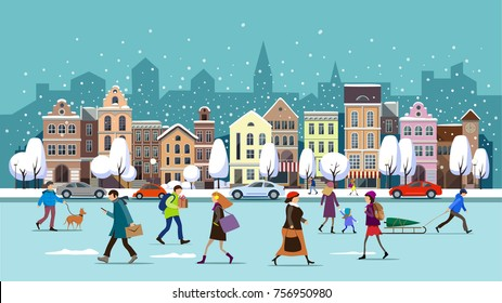 Winter city street.Winter landscape with people.Vector illustration.City landscape set with buildings,people , shop and stores, transport, vector illustration.Winter town.