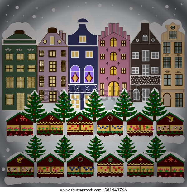 Winter city with trees, cute houses, sun. Fabric print. Vector illustration., EPS 10. Mountains, fir-trees. Winter nature landscape.