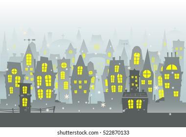 Winter city urban landscape with snow. Flat design vector