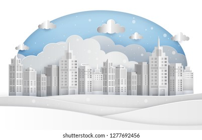 Winter cityscape in paper art style, vector illustration graphic