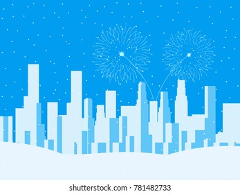 Winter cityscape, urban city with skyscrapers. Falling snow. Festive fireworks for the new year. Vector illustration