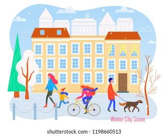 Winter cityscape vector flat illustration. City scene.