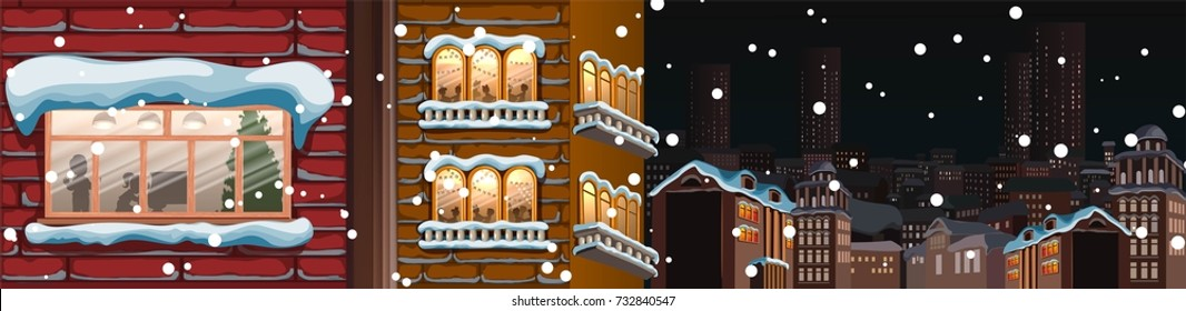 Winter cityscape.City silhouettes.Town skyline. Panorama. New year,christmas.