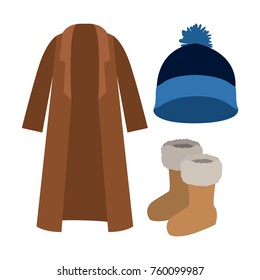 winter clothes coat and wool cap and boots in colorful silhouette over white background
