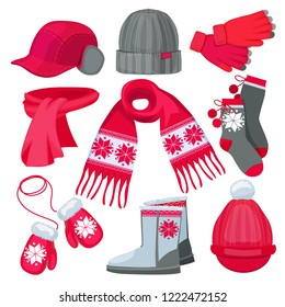 Winter clothes. Hat cap scarf mittens fur christmas fashion clothes isolated on white vector collection. Illustration of warm gloves and socks, boots and scarf