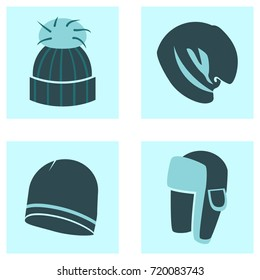 Winter clothes icons 4 types of hats: knitted hat with fur ball, oversize beanie, beanie, trapper hat.
