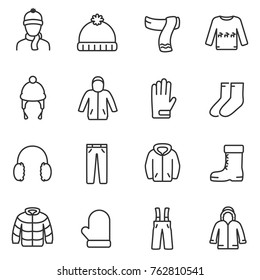 Winter clothes icons set. Jackets, a sweater with deer, gloves and more, linear design. Line with editable stroke