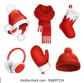 Winter clothes. Knitted hat, christmas sock and Scarf. 3d vector icon