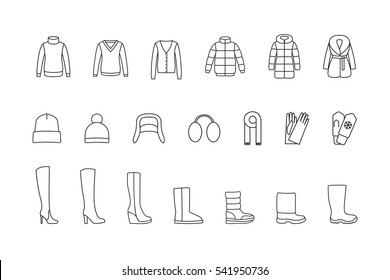 Winter clothes, shoes line icons set. Vector