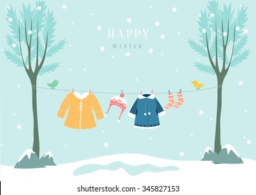Winter clothes in snow forest, Design for baby cards