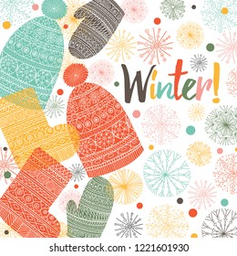 Winter clothes. Vector cute postcard.
