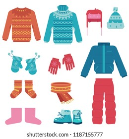 Winter clothes vector illustration set with various warm garments and shoes for wearing in cold weather in flat style isolated on white background - collection of outer apparel and accessories.