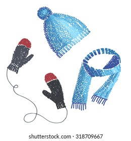 Winter clothing illustration of knitted hat, scarf and mittens.