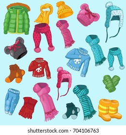 winter clothing set consisting of winter jackets,winter pants, winter shoes,winter  hats, scarves, socks, mittens, gloves,sweaters. baby clothes, colorful clothes, bright warm clothing, clothing store