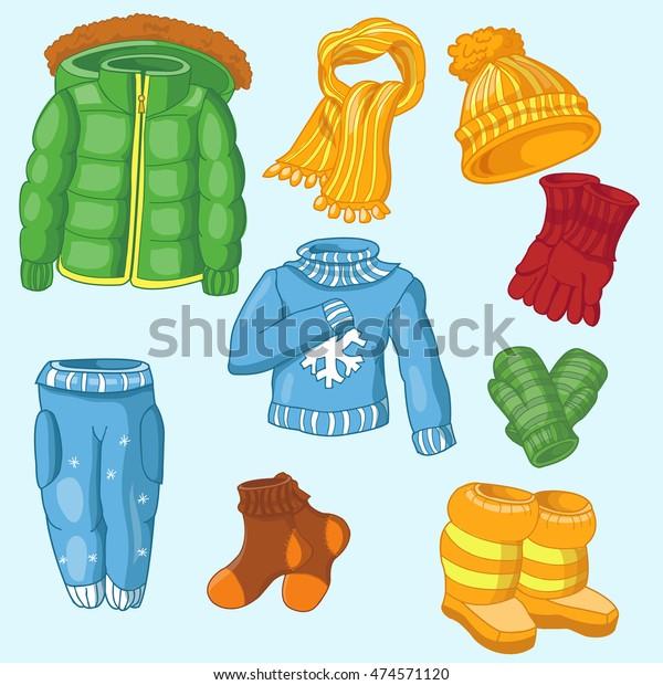 """Stock vektor """"sada zimních oděvů sestávající ze zimních"""" (bez autorských  poplatků) 474571120"""