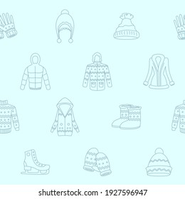 Winter clothing - Vector background (seamless pattern) of scarf, cap, jacket, sweater, coat, mitten, and other clothes for graphic design