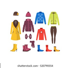 Winter Clothing Woman Set Fashion Seasonal Shopping Flat Design Style. Vector illustration