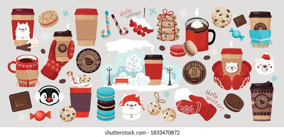 WINTER COFFEE TO GO set: coffee in paper cups, snowfall, mittens, Cup in a knitted scarf, coffee stickers, winter Park, cookies, macaroons, cute animals, chocolate. Vector, isolated.