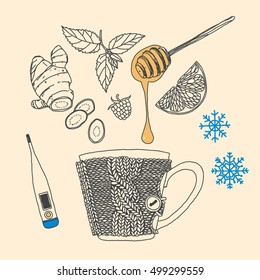 Winter. Cold. Hot drink. Healing herbal tea. Vector hand-drawn sketch.