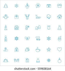 winter cold snow line 36 icons set blue on white