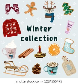 Winter collection with mittens, sweater, cup with a deer, deer, gingerbread, sleigh, cinnamon, cones, candle, orange, warmer. Christmas and new year vector illustration. For banners, posters