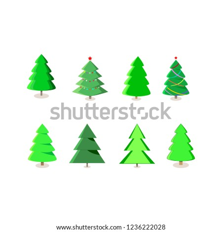 Colorful Christmas Tree Vector.Winter Colorful Cartoon Christmas Tree Vector Stock Vector