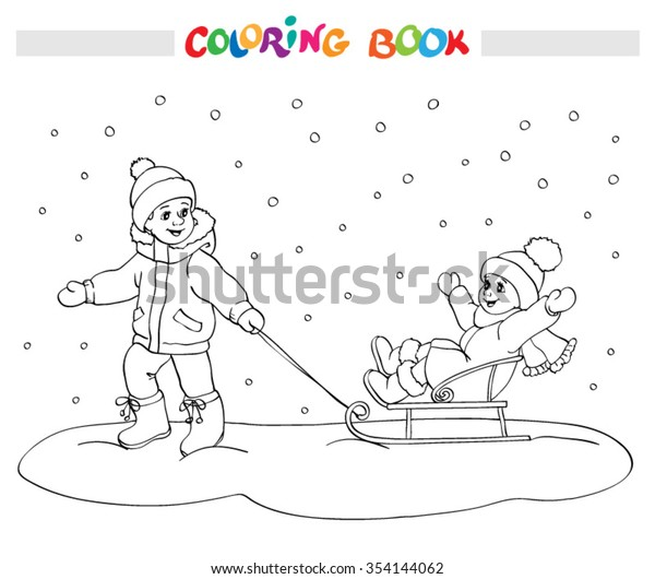 - Winter Coloring Book Page Two Kids Stock Vector (Royalty Free) 354144062