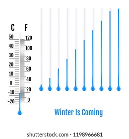 Winter Is Coming concept. Set of realistic capillary tube with fluid and bulb. Parts of liquid thermometers. Scale of measuring temperature in Celsius and Fahrenheit. Vector