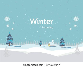 winter is coming. falling snow, landscape for winter and new year holidays. winter banner ilustration.