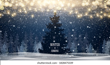 Winter is coming. Natural Winter Christmas tree background with blue sky, heavy snowfall, snowflakes in different shapes and forms, snowdrifts. Winter landscape with falling christmas snow. vector.