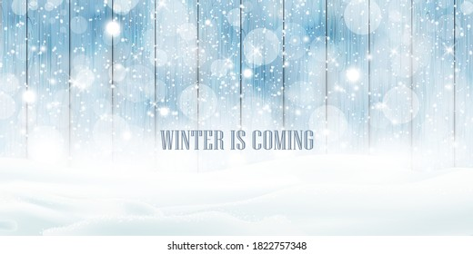 Winter is coming. Natural Winter Christmas wooden background with heavy snowfall, snowflakes snowdrifts. Winter landscape with falling christmas shining beautiful snow. vector
