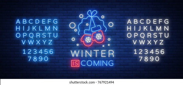Winter is coming, a neon sign on Winter holidays. Bright neon sign, luminous banner. Vector illustration for your winter projects. Editing text neon sign. Neon alphabet.