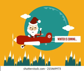 Winter is Coming. Santa Flying With Christmas Plane showing banner. flat character design. vector illustration