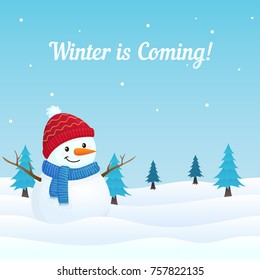 Winter is Coming Scene with Snowman and Snowy Ground with Christmas Tree in the Background. Holiday Greeting Card, Banner, Poster, Template.