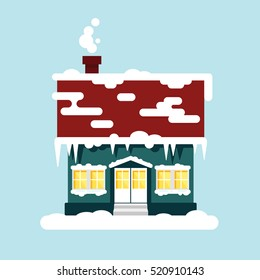 Winter cozy house isolated. Christmas time, happy new year - vector illustration. Snow flat city urban landscape, december cold xmas