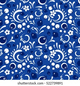 Winter cranberries pattern in Khokhloma style. Vector seamless pattern for wrapping paper or fabric. Blue backdrop