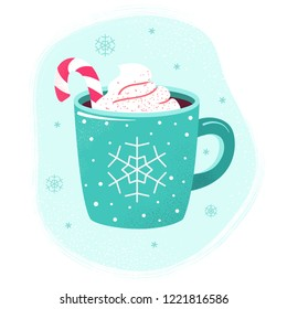 Winter cup of hot chocolate or hot cocoa with marshmallows and snowflake ornament. Blue mug with coffee, christmas candy and cream. Flat design elements. Winter season illustration.