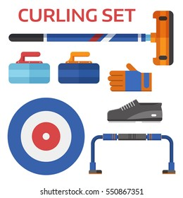 Winter curling sport equipment set with broom, stone, shoes and other elements.