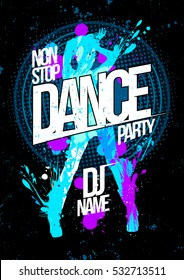 Winter dance party design concept with dancing woman silhouette, pop-art style poster