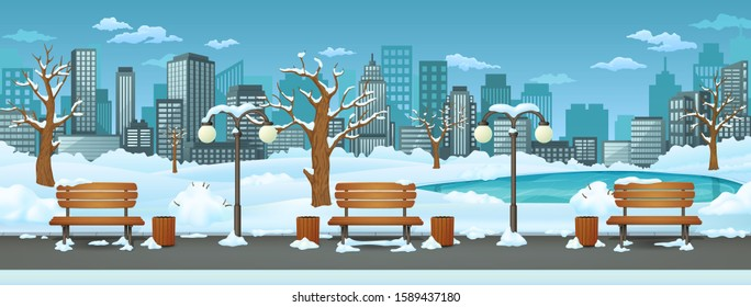 Winter day park, street vector illustration. Benches, bins and street lamps on a park trail with a frozen lake, cityscape with skyscrapers, snow covered leafless trees and bushes in the background.