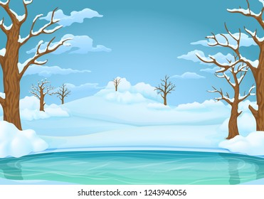 Winter day vector illustration. Frozen lake or river with snow covered leafless trees and bushes. Snowy hills, meadows and blue sky with clouds on the background.