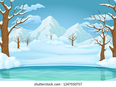 Winter day vector illustration. Frozen lake or river with snow covered leafless trees and bushes. Snowy hills, mountains and meadows in the background.